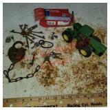 John Deere tractor, antique locks & keys