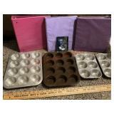 Household lot.muffin Tins, Strainer, & binders