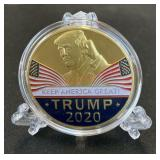 Trump 2020 Novelty coin in case w/ stand
