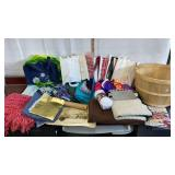 Lot of Material, blankets, bags, basket, craft