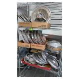Lot of Vintage Hubcaps. Rack not included.