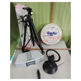 Radio Shack antenna, Zenith clock radio, tripods,