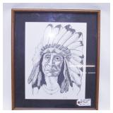 Pen & Ink Native American Picture, Florida Signed