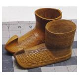 Carved Wood Shoe Knick Knack Figures (Small)