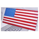 Hand Painted Wood American Flag, Signed