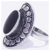 Old Pawn Sterling Silver Onyx Ring 8.6g Sz 8