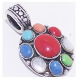 Old Pawn Sterling Silver Turquoise Coral Pendant