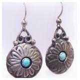 Old Pawn Sterling Silver Turquoise Earrings Signed