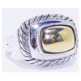 Two-Tone Sterling Silver 925 Ring 10.86g Sz 9