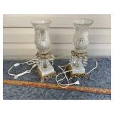 Fine Marble Base cut glass table lamps