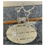 Hand Blown Glass Deer Family with Mirror