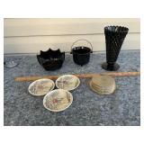Black Glass & Johnson Bros dishes