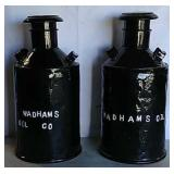 2 Wadhams oil cans