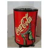 Coca-Cola round cooler w/hats