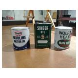 3-1 gallon oil cans Singer/Wolf