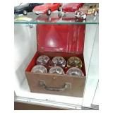 Glass ball fire extinguishers and metal case