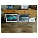 3 framed car prints