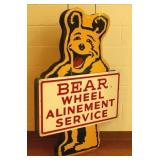 3-D Bear Wheel Alinement tin sign 53""