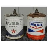 1 Havoline and 1 Mobil 5 gallon oil cans