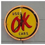 OK used cars neon sign/ clock