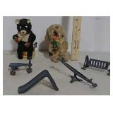 2 Wind-up toys and cast playground toys