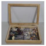 Display case w/pins, compass call, shells & more