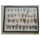 Arrowheads, spearheads, scraper & more w/case
