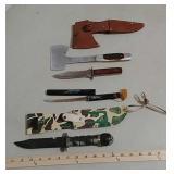 1 Knife/hatchet, 1 opener & camo knife