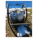 Milk cart w/3 milk cans