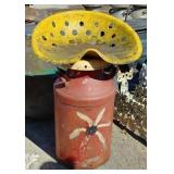 Milk can w/tractor seat