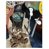 Glass insulators, irons & cobbler tools