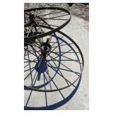 2 Metal wagon wheels