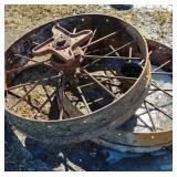 2 Metal manure spreader wheels
