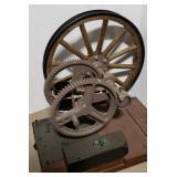Monitor open gear pump jack w/wooden fly wheel