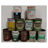 Quart oil/ fluid cans- Sinclair, Kendall, & others