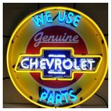 Chevy Parts neon sign w/ backing