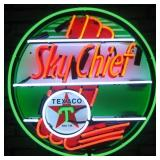 Sky Chief neon sign w/ backing
