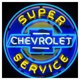 Super Chevy Service neon sign w/ backing