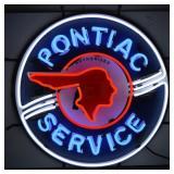 Pontiac Service neon sign w/ backing