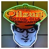Oilzum neon sign w/ backing