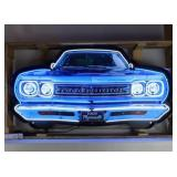 Plymouth Roadrunner grill neon sign in steel can