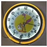 Plymouth Road Runner neon clock