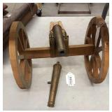 Wood & brass model cannon w/ extra brass cannon