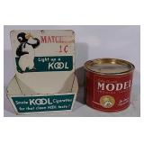 Tobacco tin and Kool Cigarette matches display