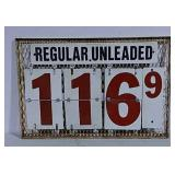 Metal Regular Unleaded changeable gas price sign