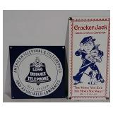 2 SS Telephone & Cracker Jack advertising signs