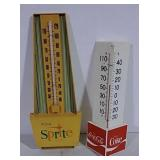 2 plastic thermometers Sprite & Coca-Cola