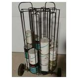 Portable oil rack with full oil cans