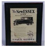 Framed Essex Motors advertisement