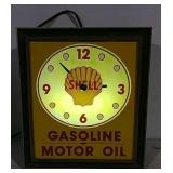 Light up Shell Gasoline Motor Oil clock